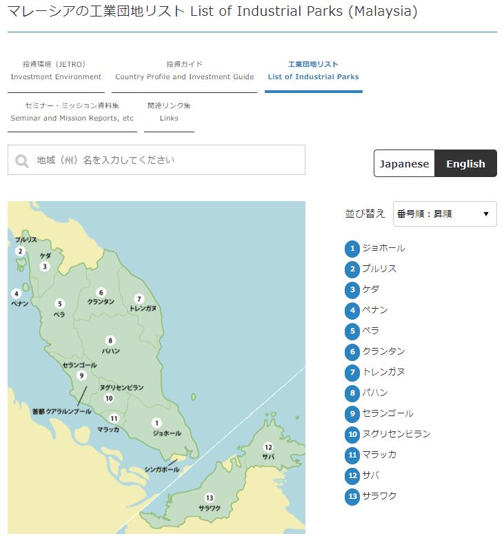 マレーシアの工業団地リスト list of industrial parks (malaysia) - 国際機関日本アセアンセンター